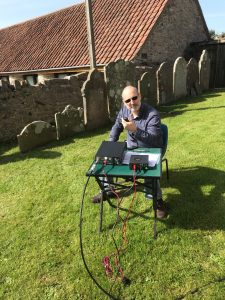 M7AMP taking in the sun & operating GB4TC on 2m